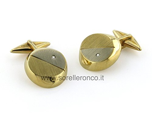 Cufflinks in 18 Kt White and Yellow Gold with Diamonds 0.02 Ct