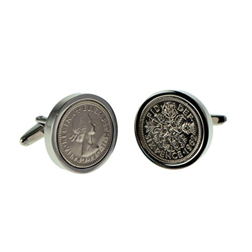 Genuine Lucky Sixpence Cufflinks in Leatherette Cufflink Box X2LSS-XCBOX