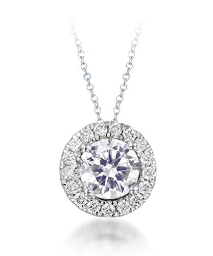 Diamond Studs Forever 14ct White Gold 3/4ct Total Weight Diamond Halo Slide Pendant with Chain GH/I1
