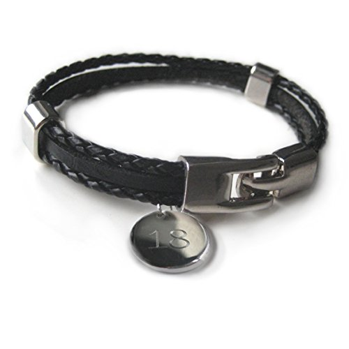 Aye Do Gifts Personalised Men's Black Leather Clasp Bracelet 18TH Birthday Gift Engraved Boys