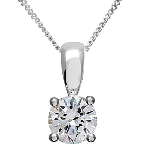 Naava Women's 18 ct White Gold Round Brilliant Diamond Solitaire Pendant on Chain