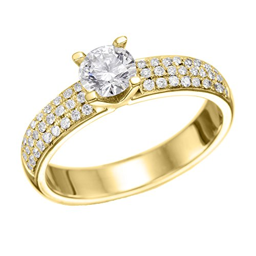 GIA Certified, Round Cut, Solitaire Diamond Ring in 14K Gold / Yellow (2 ct, E Color, VVS2 Clarity)