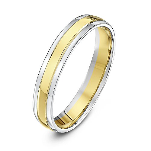 Theia Unisex Court Shape 9 ct Yellow and White Gold Wedding Ring