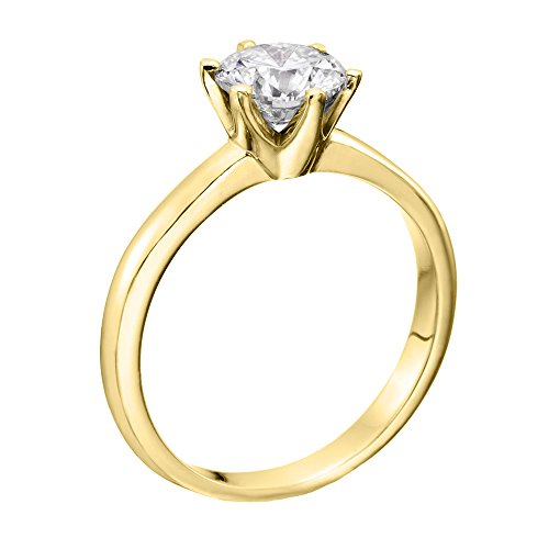 GIA Certified, Round Cut, Solitaire Diamond Ring in 14K Gold / Yellow (2 ct, F Color, SI1 Clarity)