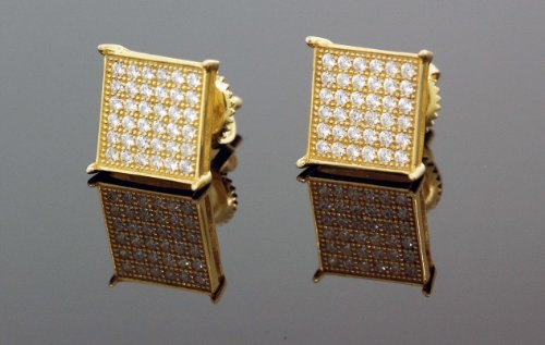 IcedTime .925 Silver Yellow Square White Crystal Micro Pave Unisex Mens Stud Earrings 10mm