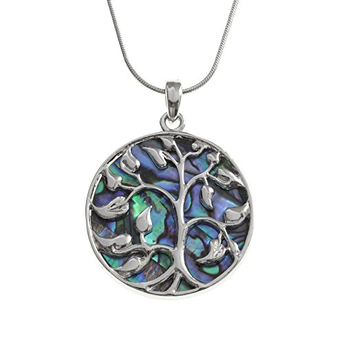 Kiara Jewellery Reversible Celtic Tree Of Life Pendant Necklace Inlaid Both Sides With Bluish Green Paua Abalone Shell…
