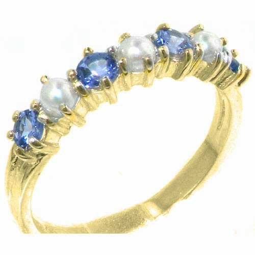 14ct Gold Tanzanite & Pearl Ring – Ladies Eternity style Band ring with Natural Tanzanites & Pearls Solid Hallmarked…