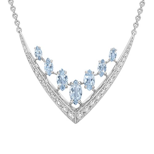 Shaun Leane Women's Round Clear Diamond and Marquise V with Light Blue Aquamarine 18 ct White Gold Necklace of 43 cm