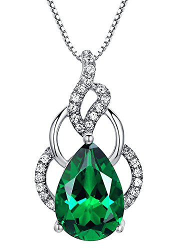 Sterling Silver 4.5 Carats Teardrop Created Emerald Pendant Necklace, Italian Box Chain SC035N6