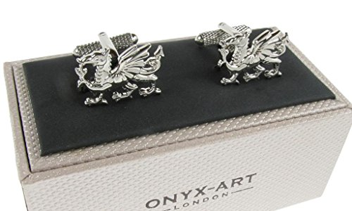 Welsh Dragon Cufflinks – Silver or Gold Colour Welsh Dragon Shirt Cufflinks Presented in Onyx Art London Cufflink Gift…