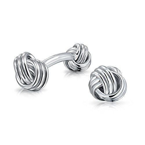 Solid Double Sided Twist Love Knot Woven Braided French Style Fixed Bar Backing Shirt Cufflinks For Men Executive Groom…