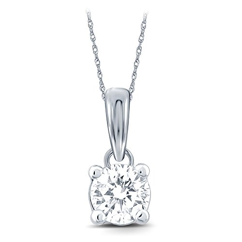 Round White Diamond Solitaire Pendant in 18K Yellow or White Gold. (EGL Certified) available in 0.25cttw, 0.33cttw, 0…