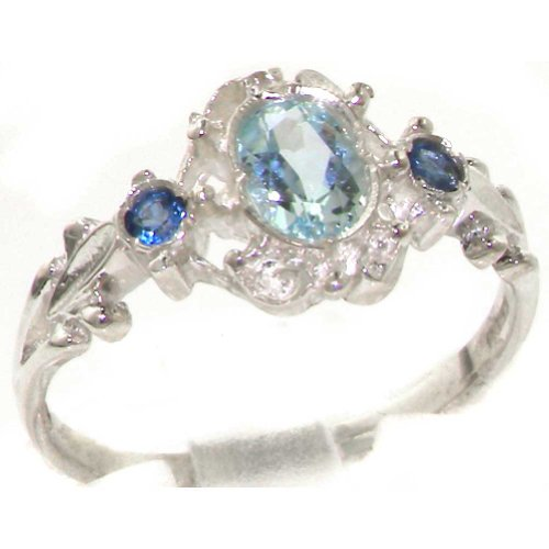 Solid 9ct White Gold Natural Aquamarine & Sapphire Vintage Style Ladies Ring
