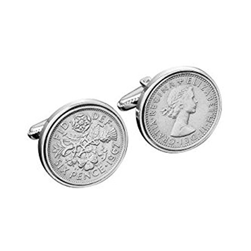 Polished Sixpence Cufflinks | 1967 Anniversary 1967 Coins 54th Birthday