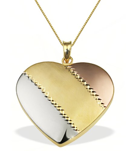 Goldmaid Women's 9 Carat Tri-Colour Gold Heart Necklace 45 cm