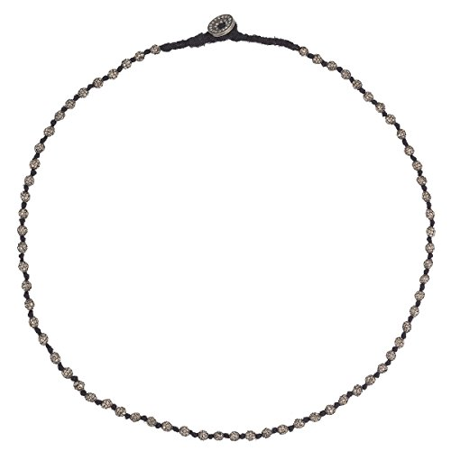 EYE M by Ileana Makri Cotton Beads Necklace with Button Oxidised Silver Grey Diamonds of Length 43 cm