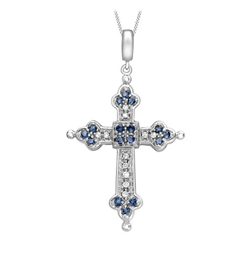 Carissima Gold 9ct White Gold Diamond and Sapphire Cross Pendant on Curb Chain Necklace of 46cm/18″