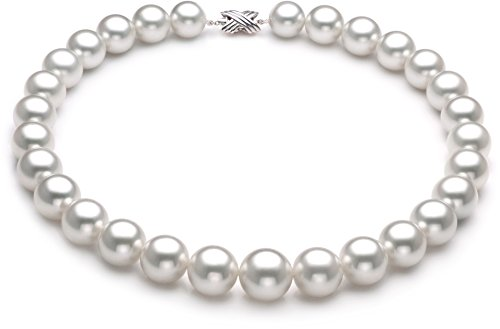 White 14-17mm AAA Quality South Sea 14K White Gold Cultured Pearl Necklace-18 cm