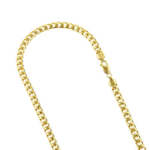 14k Yellow Gold Miami Cuban Link Solid Chain Necklace with Lobster Claw Clasp 6mm Wide