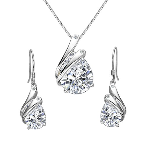 Clearine Women's 925 Sterling Silver Wedding Bridal Cubic Zirconia Teardrop Angel Wing Feather Pendant Necklace Hook…
