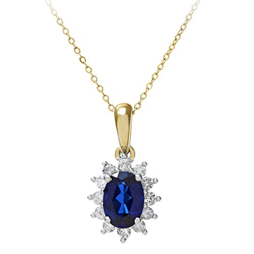 Naava Women's Round Brilliant 0.25 ct Sapphire and Diamond 9 ct Yellow Gold Oval Cluster Pendant with Chain of 46 cm
