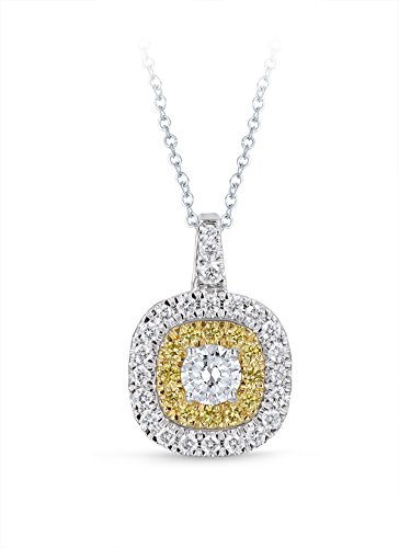 Diamond Studs Forever 14ct White & Yellow Gold 1ct Total Weight Diamond Double Halo Pendant With Chain GH/I1 IGI USA…
