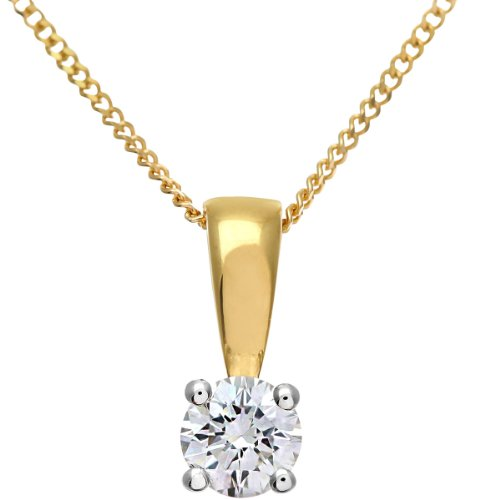 Naava Women's Round Brilliant 0.25ct G/VS2 Certified Diamond 18 ct Yellow Gold Solitaire Pendant with Chain of 46 cm