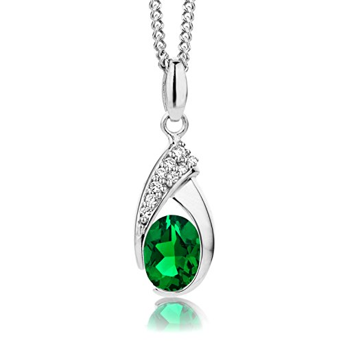 ByJoy Necklace for Women Sterling Silver pendant Emerald with Cubic zirconia brilliant cut 45 cm chain 925 Silver