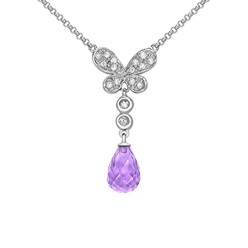 Carissima Gold 9ct White Gold 0.12ct Diamond Butterfly and Amethyst Teardrop Necklet of 41cm/16″
