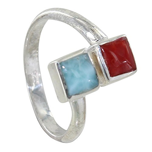 Les Poulettes Jewels – Sterling Silver You and I Ring with Blue Larimar and Red Coral