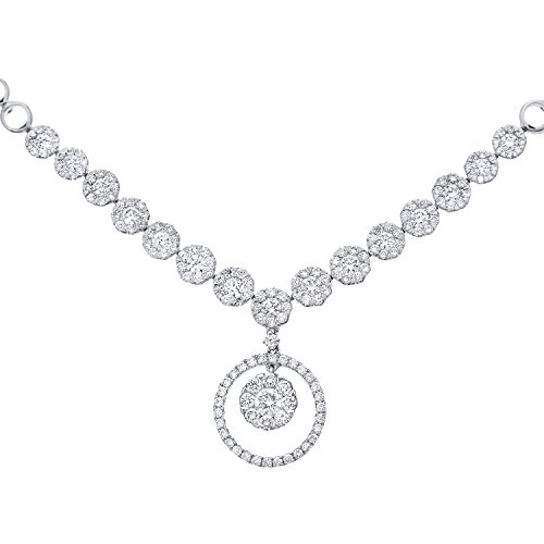 Naava Women's 18 ct White Gold Halo Set Diamond Certified G/SI1 Round Drop Necklace of 46 cm
