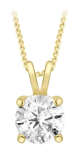Carissima Gold 9 ct Yellow Gold with 0.50 ct Diamond Pendant Claw on Curb Chain Necklace of Length 46 cm/18 inch