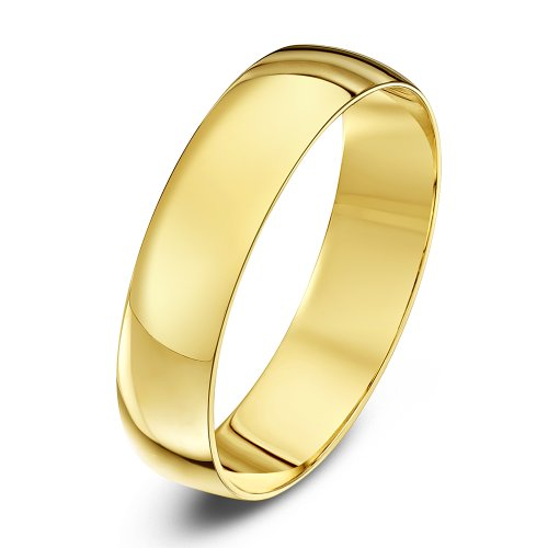 Theia Unisex 9ct Yellow Gold, Heavy D Shape, Polished Wedding Ring