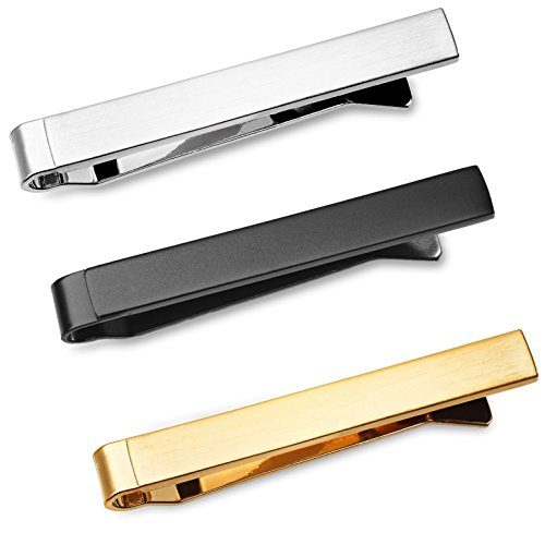 Tie Bar Set 3-Pc Tie Clips for Skinny Ties, 4 cm w/Gift Box Puentes Denver