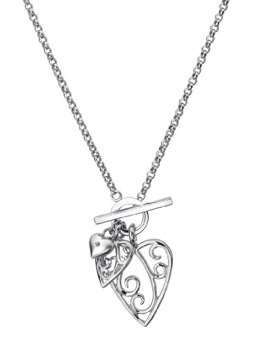 Lily & Lotty Silver Triple Heart Necklace Set with Real Diamond Accent of 44cm Length with Luxury Gift Packaging