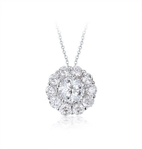 Diamond Studs Forever 14ct White Gold 1ct Total Weight Diamond Halo Pendant With Chain GH/I1 IGI USA Certified