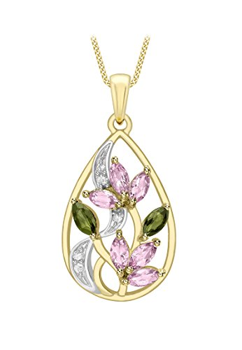Carissima Gold 9 ct Yellow Gold Diamond with Green and Pink Tourmaline Pendant Curb Chain Necklace of 46 cm/18 inch