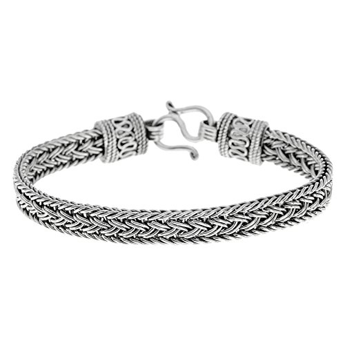 Silverly Women's Men's .925 Sterling Silver Oxidized Thick Balinese Chain Bracelet, 18 cm