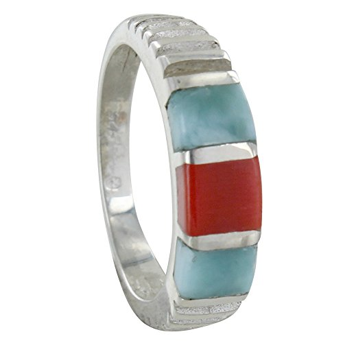 Les Poulettes Jewels – Sterling Silver Ring Two Larimar Square and One Red Coral Square
