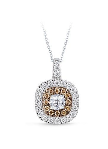 Diamond Studs Forever 14ct White & Chocolate Gold 1ct Total Weight Diamond Double Halo Pendant With Chain GH/I1 IGI USA…