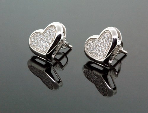IcedTime .925 Sterling Silver White Heart White Crystal Micro Pave Unisex Mens Stud Earrings