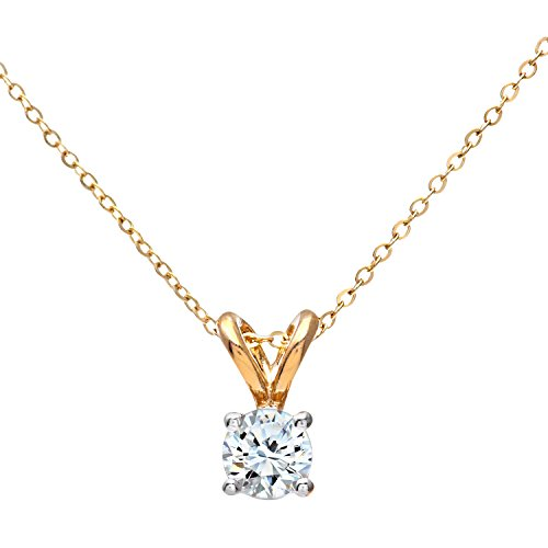 Naava Women's 9 ct White Gold 0.25 ct Single Stone Diamond Pendant with 46 cm Yellow Gold Trace Chain Necklace