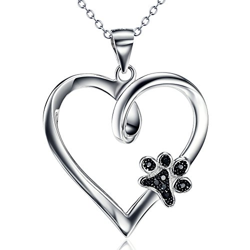 Silver Mountain 925 Sterling Silver Pet Paw Print Heart Cubic Zirconia Pendant Necklace, 18″