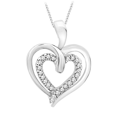 Carissima Gold 9ct White Gold Diamond Double Heart Pendant on Chain Necklace of 46cm/18″