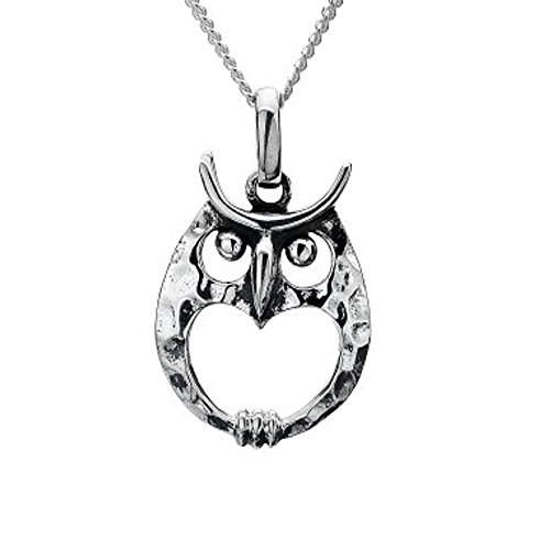 Sterling Silver Jewellery: Round Owl and Heart Pendant With Hammered Finish (14mm) (N129)