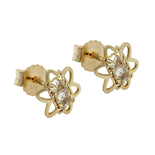 Male flower with two cubic zirconias, 9K GOLD