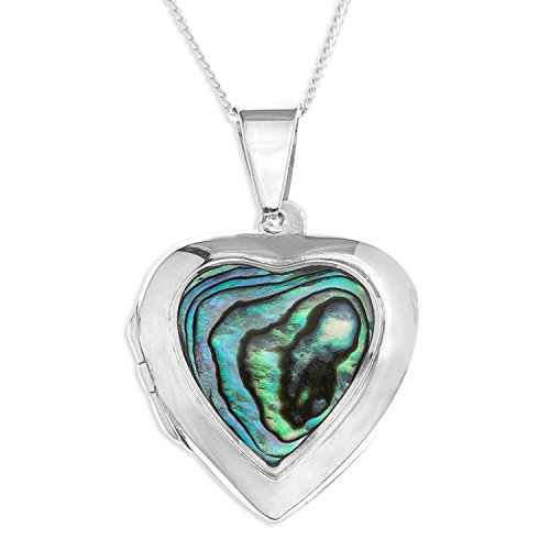 Ornami Sterling Silver and Abalone Heart Locket on Chain of 46 cm