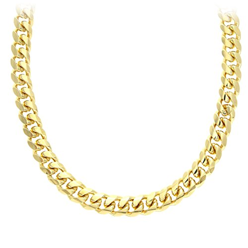 Citerna Gold Plated Silver Men's Solid Curb Chain Necklace SAC400