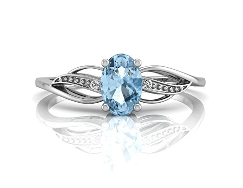 Blue Topaz Oval Ring DIAMOND 9 Carat White Gold. Certificate AGI Precious Jewels UK