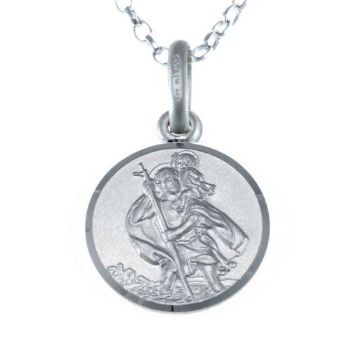 Children's Small Reversible Sterling Silver St Christopher Necklace Pendant with 16″ Chain & Jewellery Gift Box – Ideal gift for Christening or Holy Communion